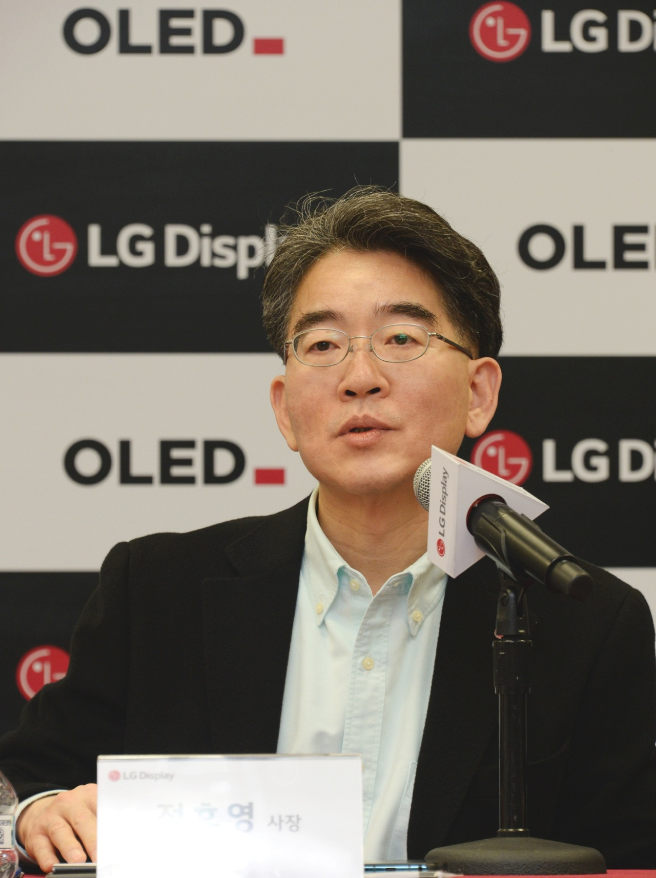 LG Display CEO Jeong Ho-young speaks during a press conference in Las Vegas on Monday. (LG Display)