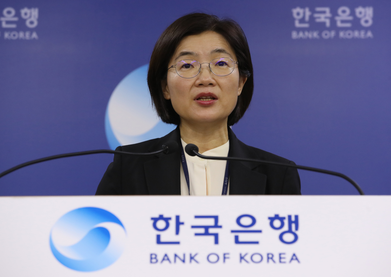 Moon So-sang, head of the BOK`s monetary and financial statistics division, speaks at a press briefing on the nation`s current account surplus at the BOK headquarters in central Seoul on Tuesday. (Yonhap)