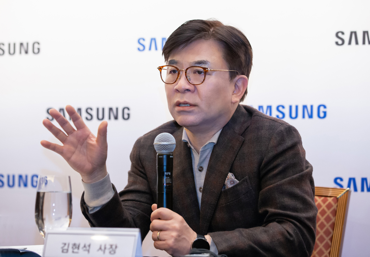 Kim Hyun-suk, chief executive officer of Samsung's consumer electronics division, speaks during a press conference, Tuesday at Caesars Palace in Las Vegas. (Samsung Electronics)