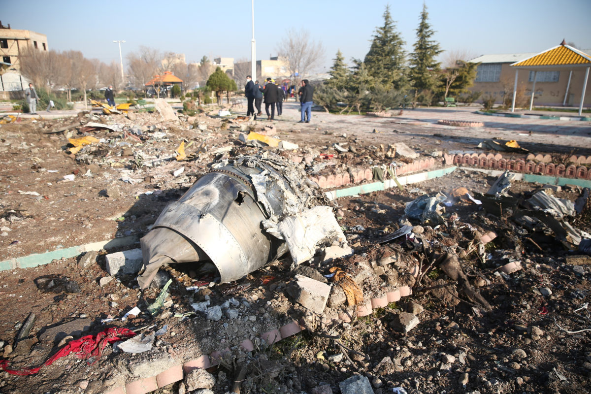 Debris of a plane belonging to Ukraine International Airlines, that crashed after taking off from Iran`s Imam Khomeini airport, is seen on the outskirts of Tehran, Iran January 8, 2020. (Reuters-Yonhap)