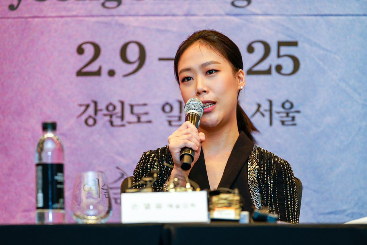 Music in PyeongChang's artistic director and acclaimed pianist Son Yeol-eum speaks during a press conference held Monday at Four Seasons Seoul in Gwanghwamun, central Seoul. (MPyC)