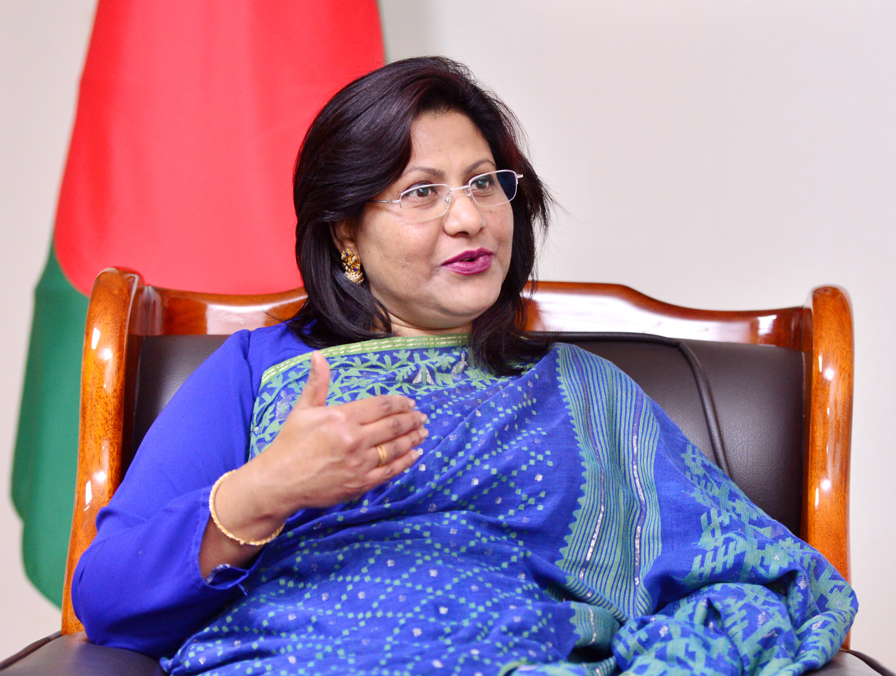 Bangladeshi Ambassador to South Korea Abida Islam speaks during an interview with The Korea Herald at the Bangladesh Embassy in Seoul in December 2019. (Park Hyun-koo/ The Korea Herald)