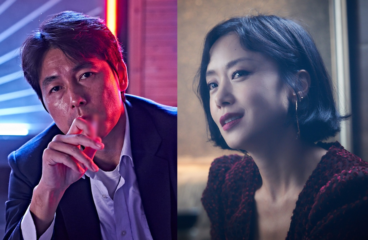 Jung Woo-sung (left), playing Tae-young, and Jeon Do-yeon, playing Yeon-hee, in the movie