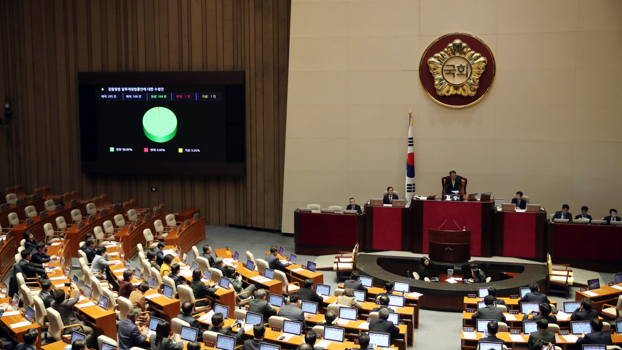 A screen displays the results of a vote by lawmakers on a bill to grant police more investigative powers, at the National Assembly in Seoul on Monday. Green represents votes in support of the bill, red represents votes against the bill, and yellow represents abstentions. (Yonhap)