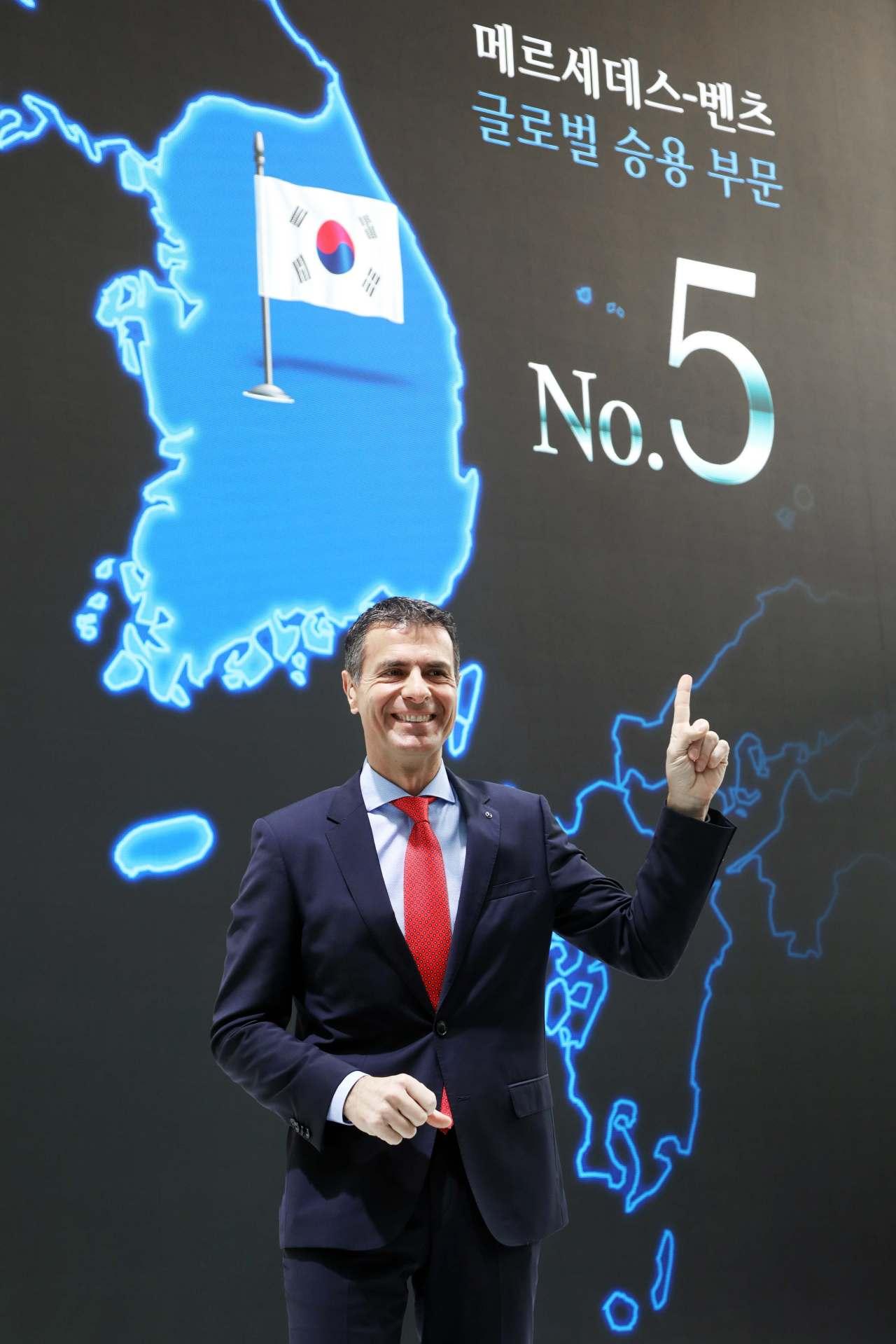 Mercedes-Benz Korea President and CEO Dimitris Psillakis speaks at a press conference held at EQ Future pavilion, Seoul, Tuesday. (Mercedes-Benz Korea)