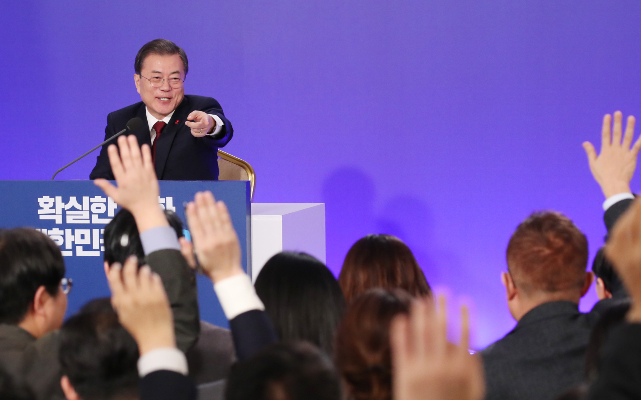 President Moon Jae-in holds a press conference on Tuesday. Yonhap