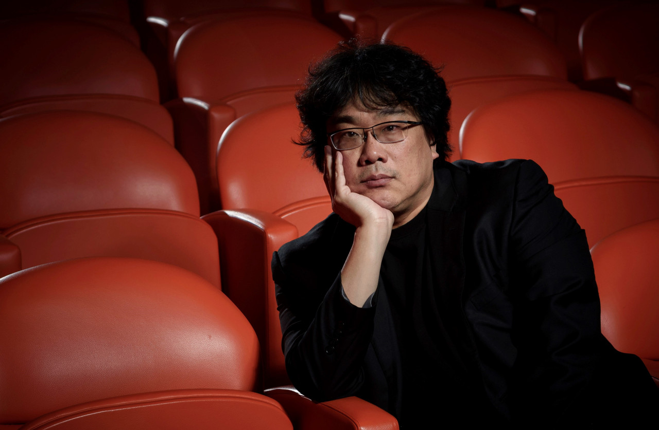 "Bong Joon-ho poses for portrait at the Whitby Hotel screening room in New York to promote his film ""Parasite"" on Oct. 8. (AP)"