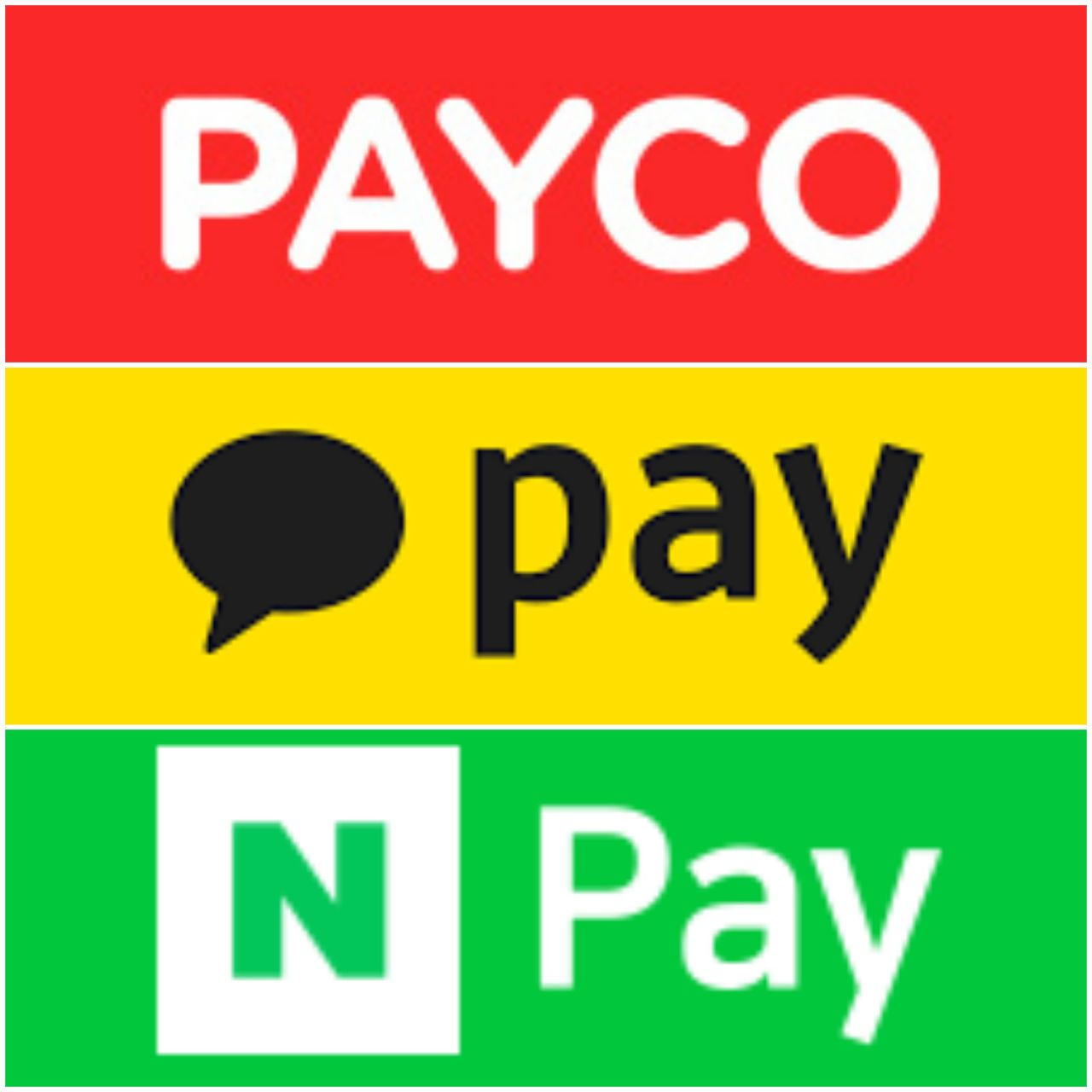 Logos of Kakao Pay, N Pay, and Payco, three of Korea's most used fintech applications