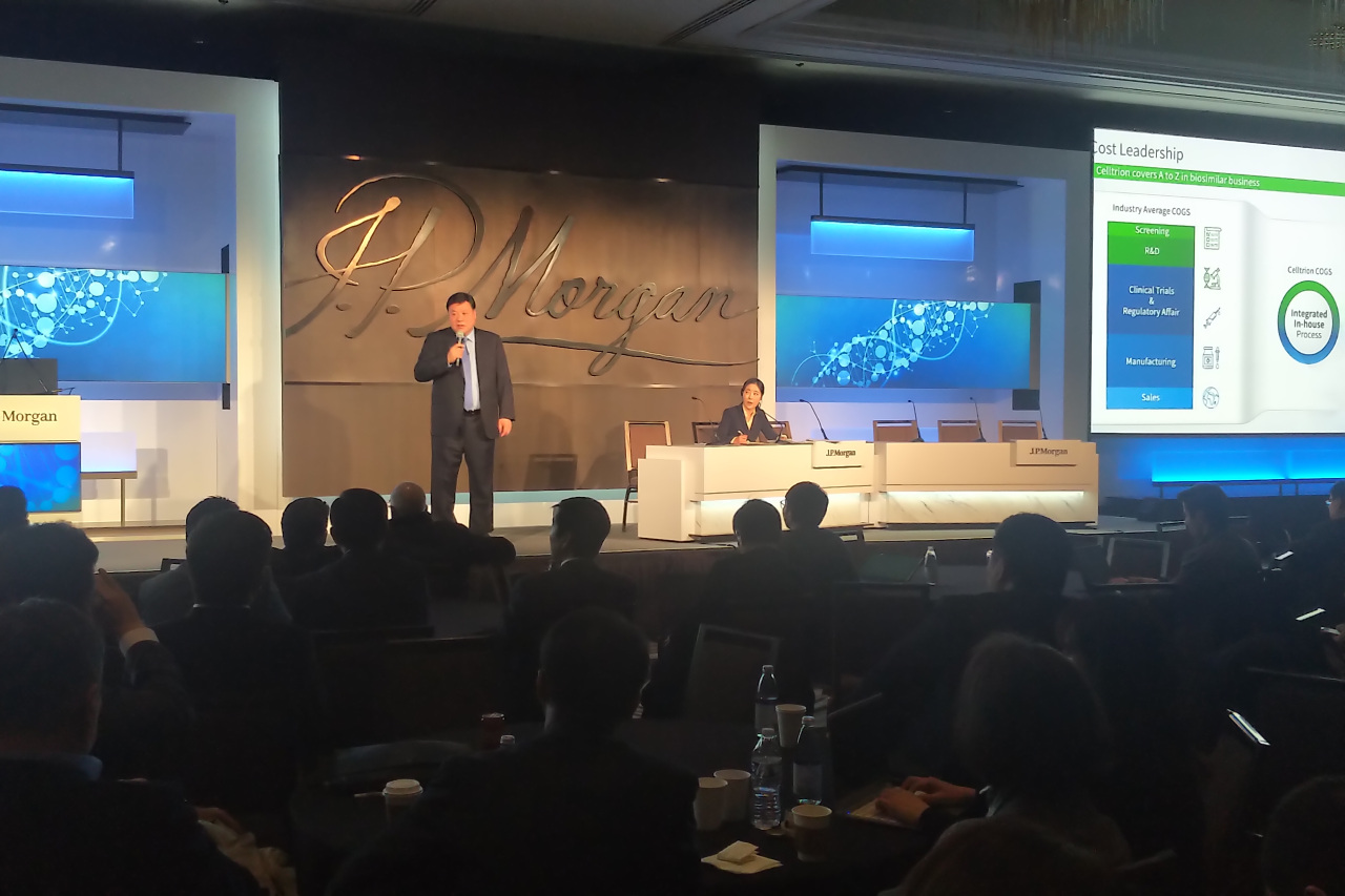 Celltrion Chairman Seo Jung-jin speaks during the annual JP Morgan Healthcare Conference in San Francisco on Wednesday (Joint Press Corp)