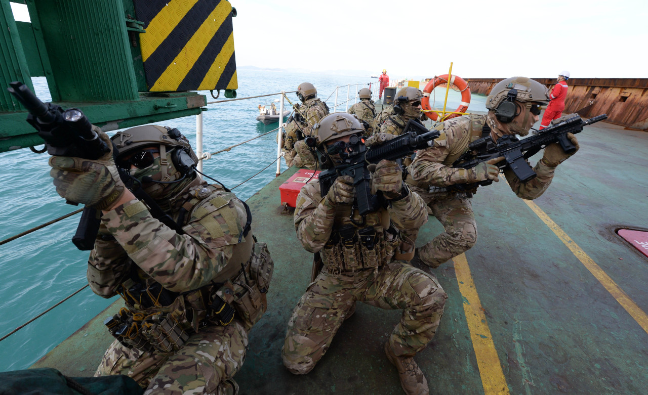 The Cheonghae Unit engaging in an anti-piracy combat exercise last month (Yonhap)