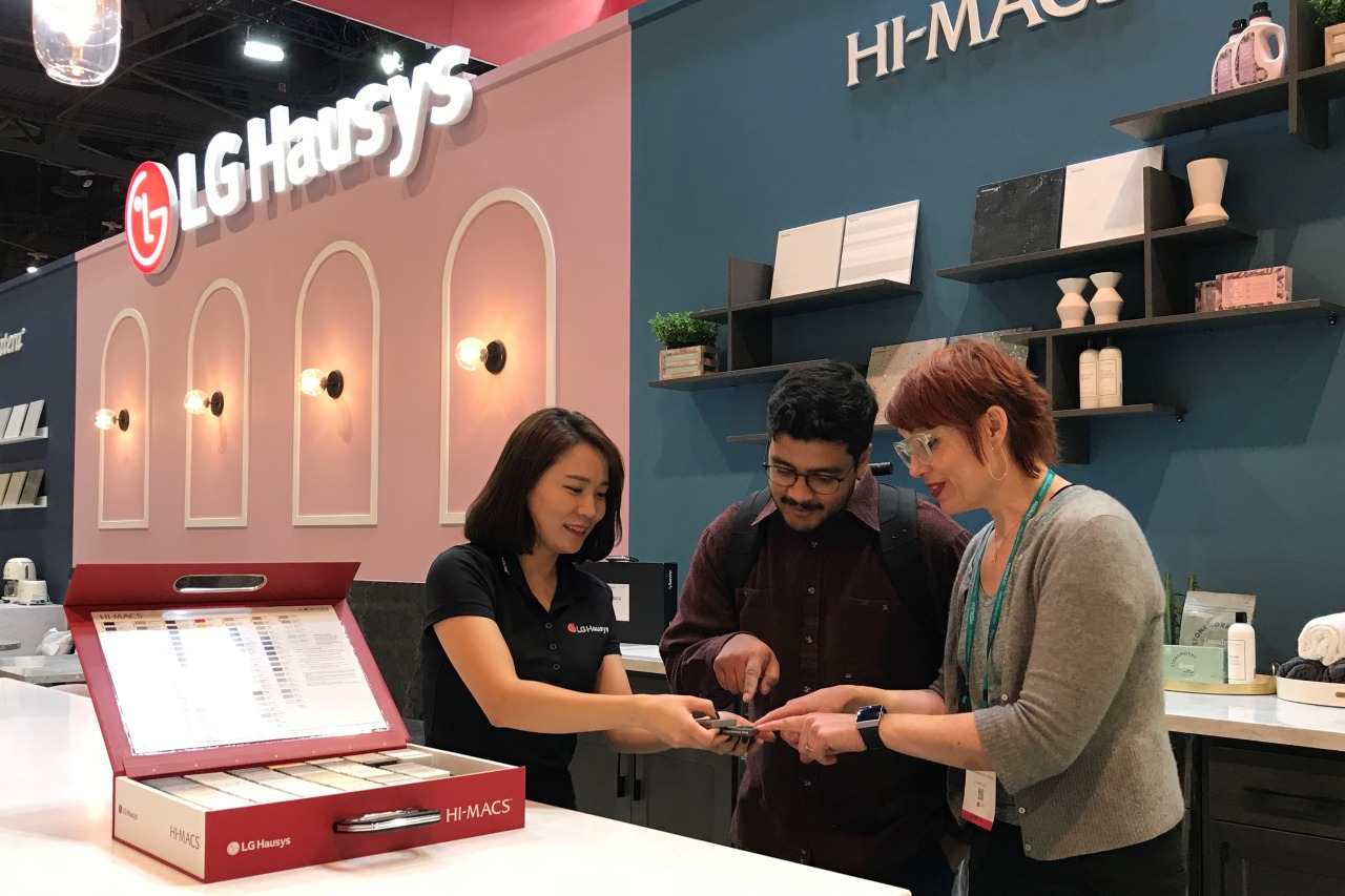 LG Hausys' booth at the Kitchen & Bath Industry Show 2020 in Las Vegas (LG Hausys)