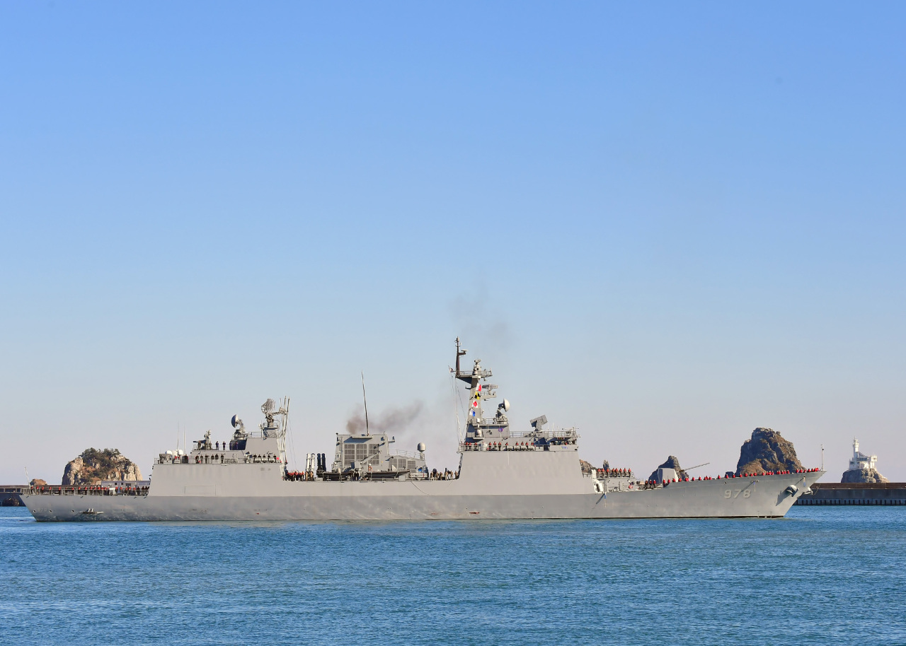 Destroyer Wang Geon departing from a naval base in Busan last month (Yonhap)