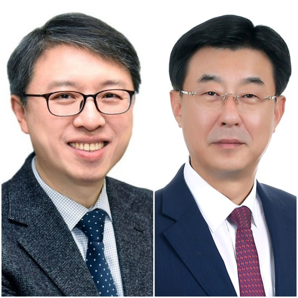 Samsung Card's newly appointed CEO Kim Dae-hwan(left) and Samsung Asset Management CEO appointee Shim Jong-keug. (Samsung Card, Samsung Asset Management)