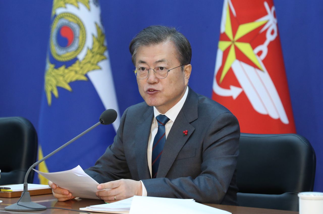 President Moon Jae-in speaks at the Ministry of National Defense briefing on Tuesday. Yonhap