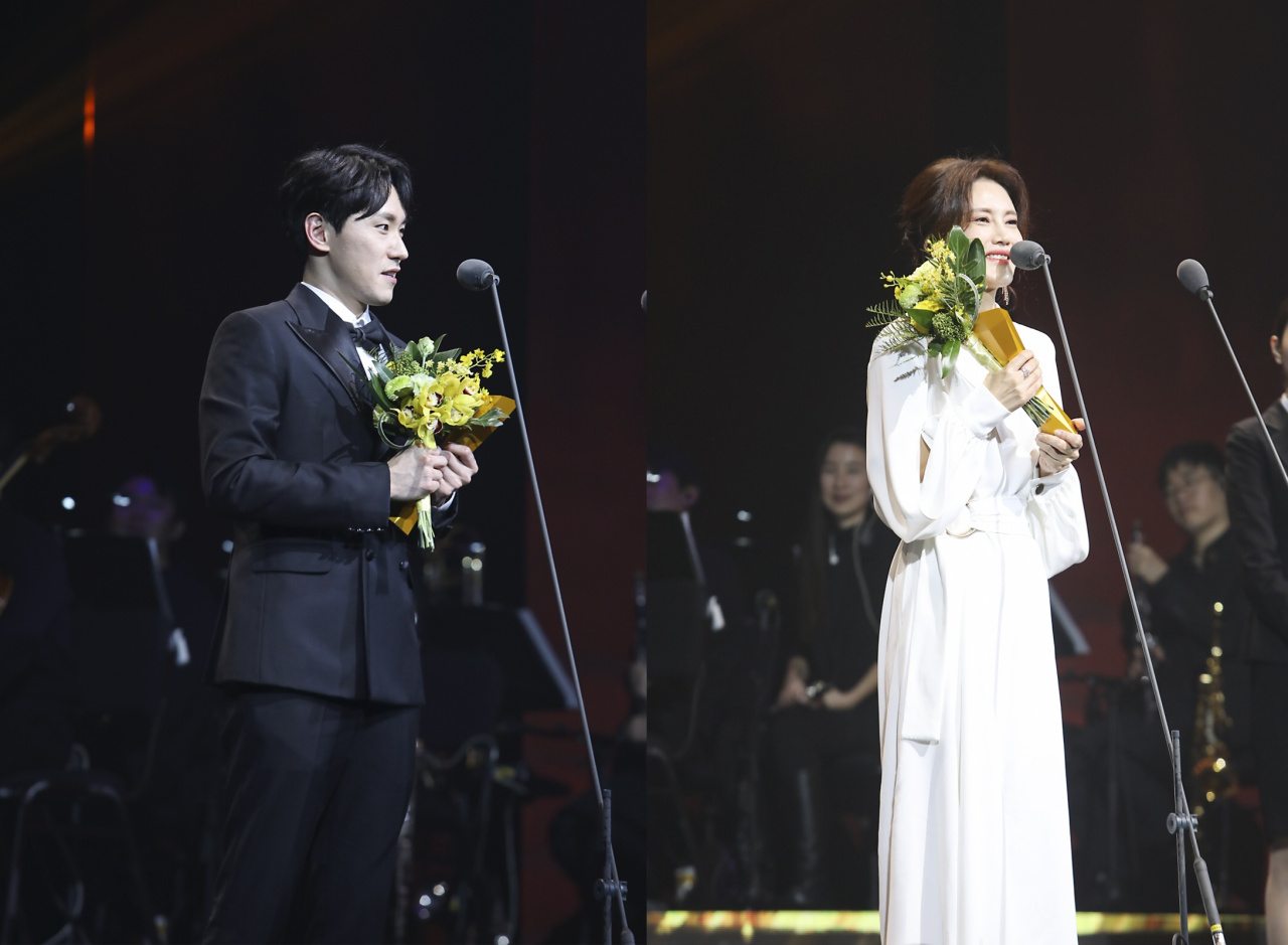 Stage actor Jo Hyung-gyun (left) and Kim Sun-young (Korea Musical Theatre Association)