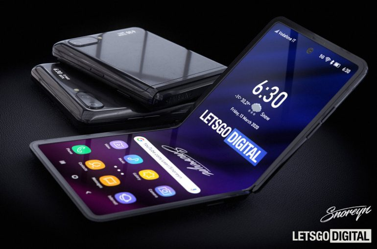 3D renders of Galaxy Z Flip phones by LetsgoDigital (https://nl.letsgodigital.org)