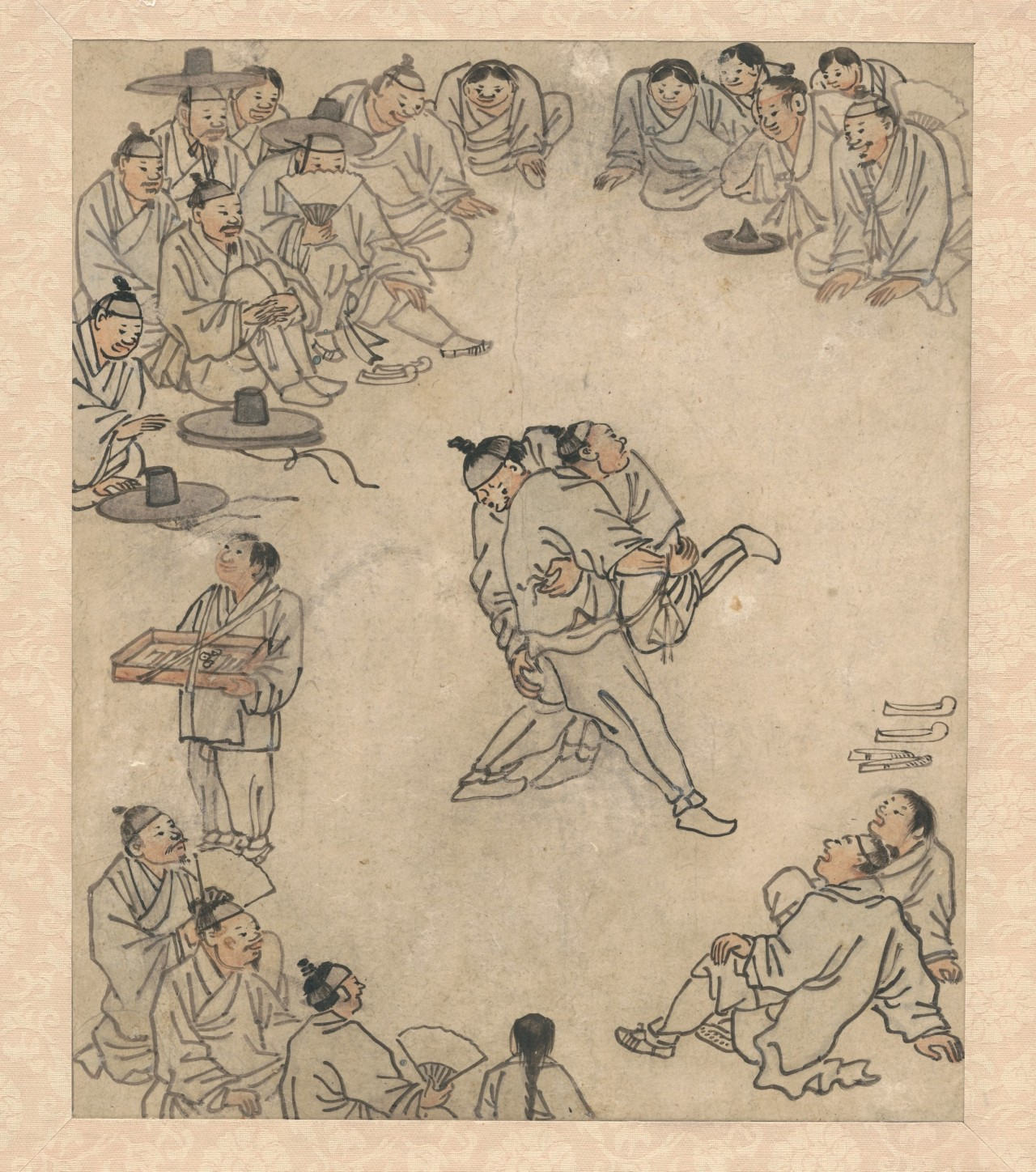 A painting by Joseon-era artist Kim Hong-do depicts ssireum. (National Museum of Korea)