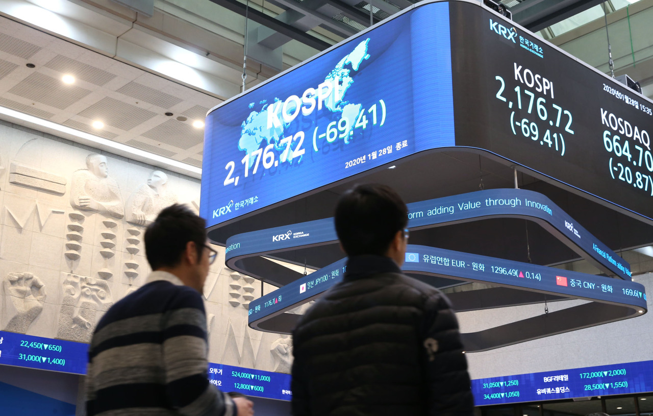 A sign at the Korea Exchange shows that the Kospi and Kosdaq indexes sank 3 percent Tuesday, the result of rising fear of the new coronavirus in China and its impact on global markets. (KRX)