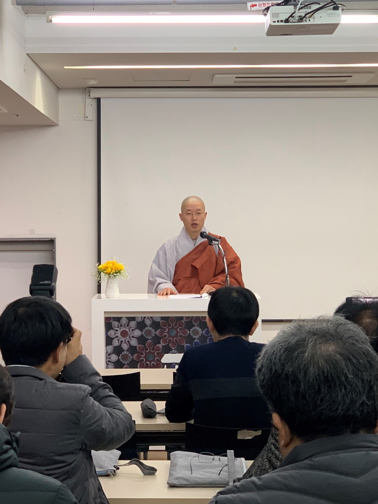 Ven. Wonkyung, head monk of Cultural Corps of Korean Buddhism speaks at a press conference in Seoul on Wednesday. (Cultural Corps of Korean Buddhism)