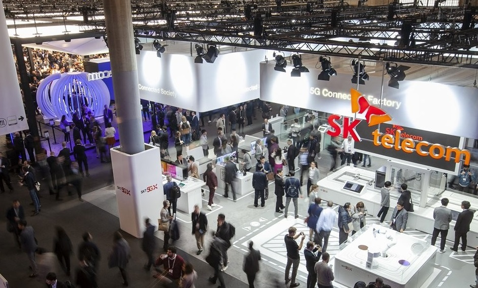 This photo provided by SK Telecom Co. shows the company`s exhibition booth at the Mobile World Congress in Spain on Feb. 25, 2019. (PHOTO NOT FOR SALE) (Yonhap)