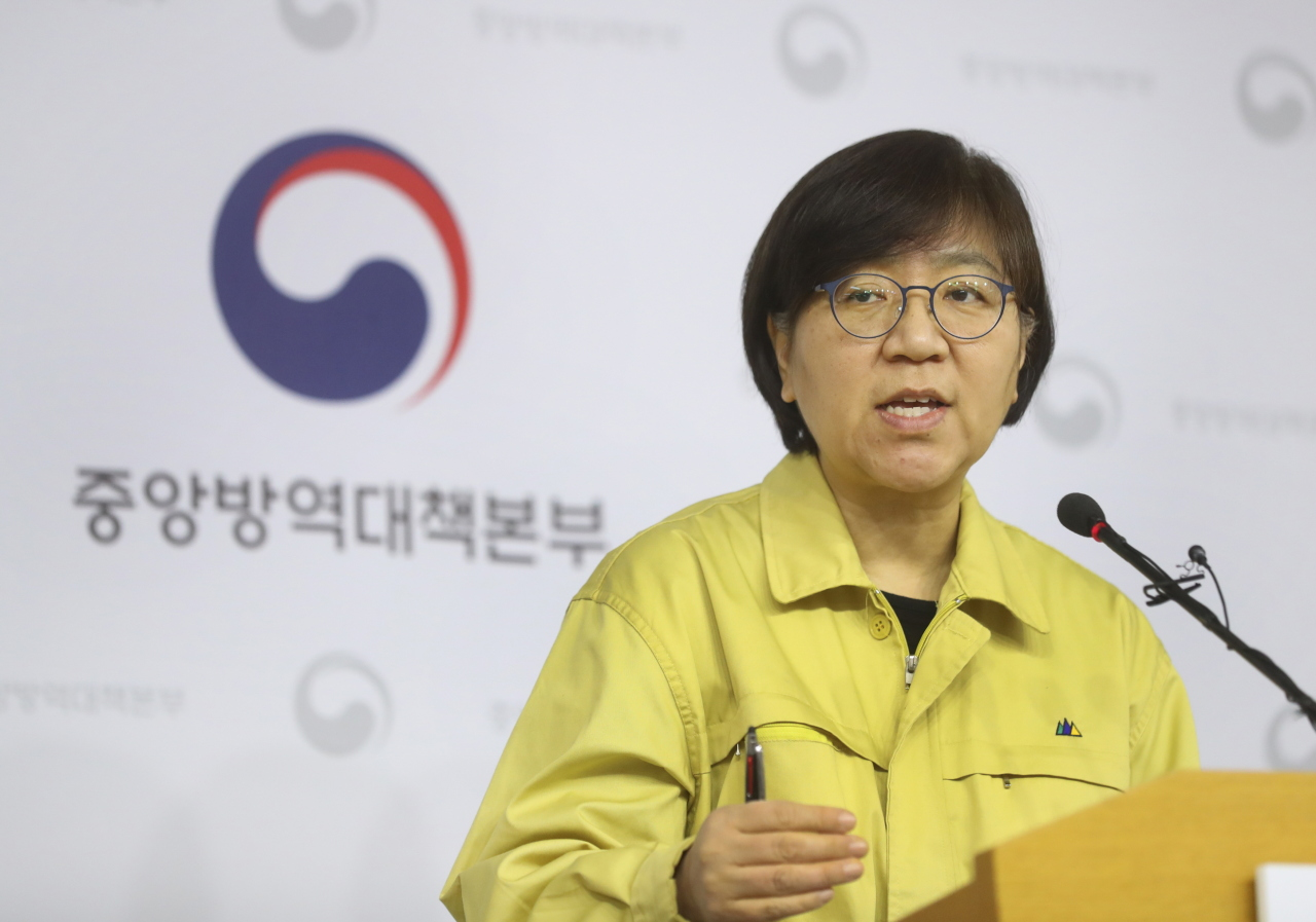 Director of Korea Centers for Disease Control and Prevention Jung Eun-kyeong speaks during a briefing Sunday. (KCDC)