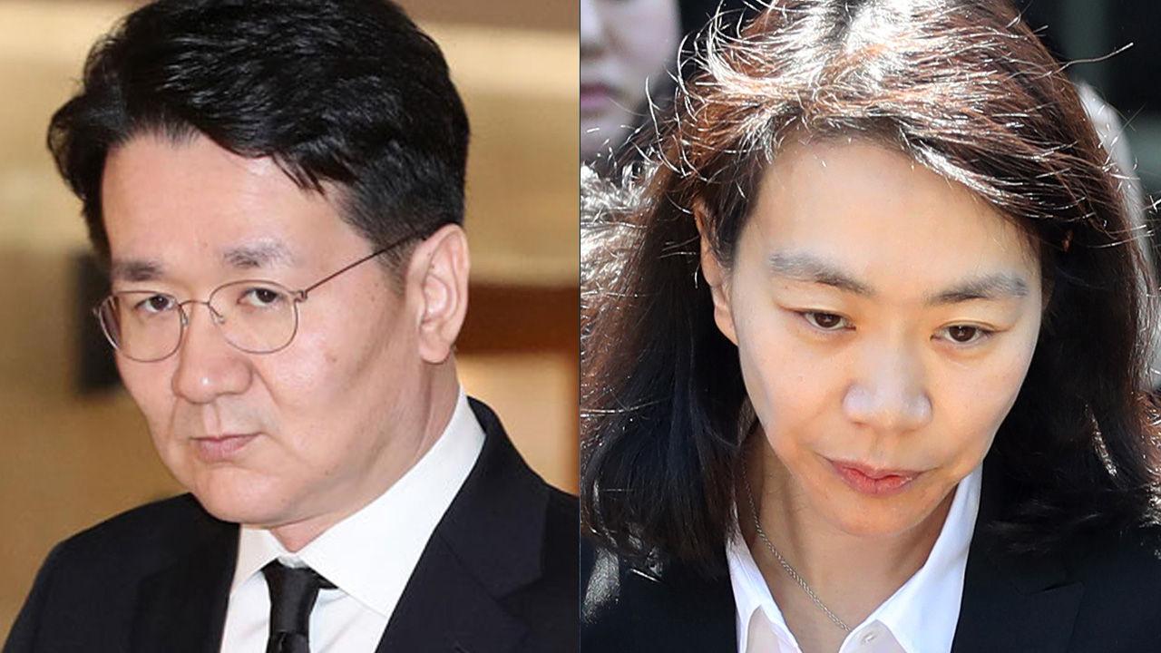 Hanjin Group Chairman Cho Won-tae (left) and former head of KAL Hotel Network Cho Hyun-ah (right) (Yonhap)