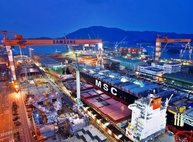 Samsung Heavy Industries' shipyard in Geoje, South Gyeongsang Province. (Samsung Heavy Industries' )