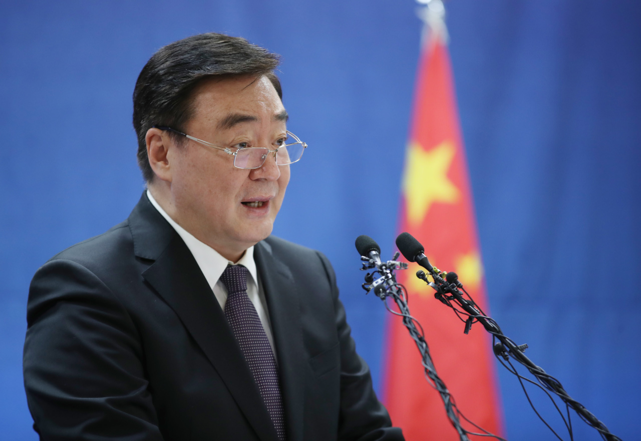 New Chinese Ambassador to South Korea Xing Haiming speaks in a press conference about the Chinese government's stance on the coronavirus outbreak, at the Chinese Embassy in central Seoul on Tuesday. (Yonhap)