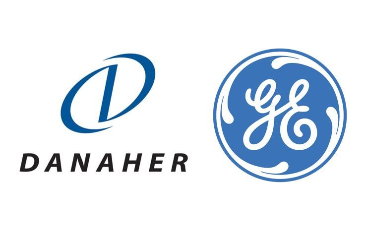 Logos of Danaher (left) and General Electric