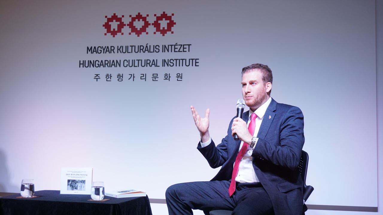 "Hungarian Ambassador to Korea Mozes Csoma speaks during a launch ceremony for his photo book, ""The Relations of the Korean Peninsula and Hungary Seen Through Rare Photos,"" at the Hungarian Cultural Institute on Feb. 6. (Hungarian Cultural Institute)"