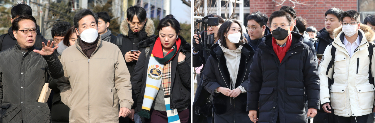 Lee Nak-yon (left in a brown jacket) and Hwang Kyo-ahn (right with a black face mask) canvass voters in the Jongno District in central Seoul on Feb. 9. (Yonhap)