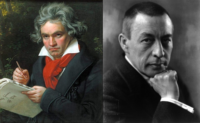 Beethoven (left) and Rachmaninoff