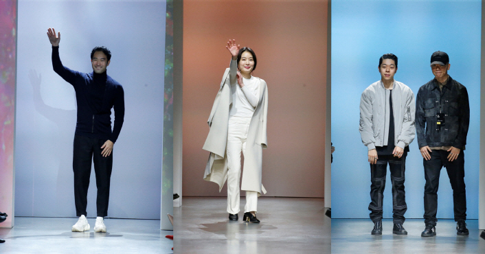 From left: Designers at Concept Korea New York Fashion Week F/W 2020: Lee Chung-chung, Lee Seung-hee, Kim In-te and Kim In-gyu (Korea Creative Content Agency)