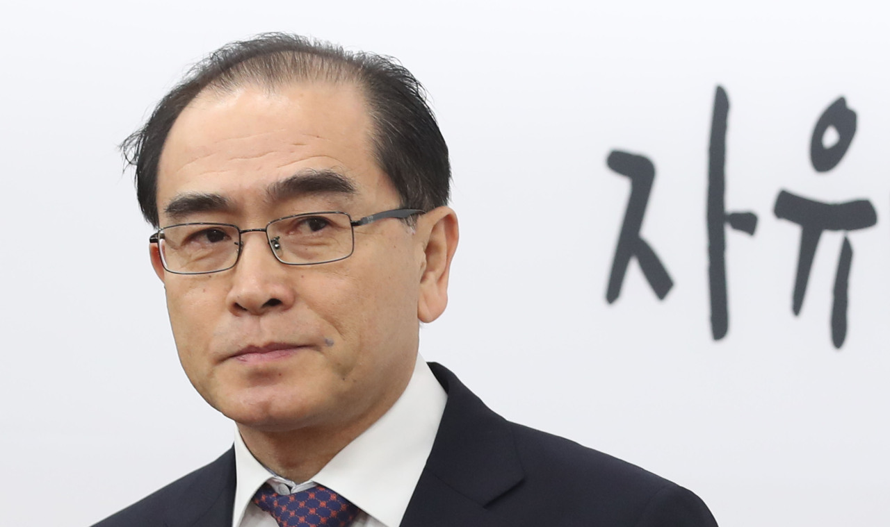 Thae Yong-ho speaks at a press conference at the National Assembly in Seoul on Tuesday. (Yonhap)