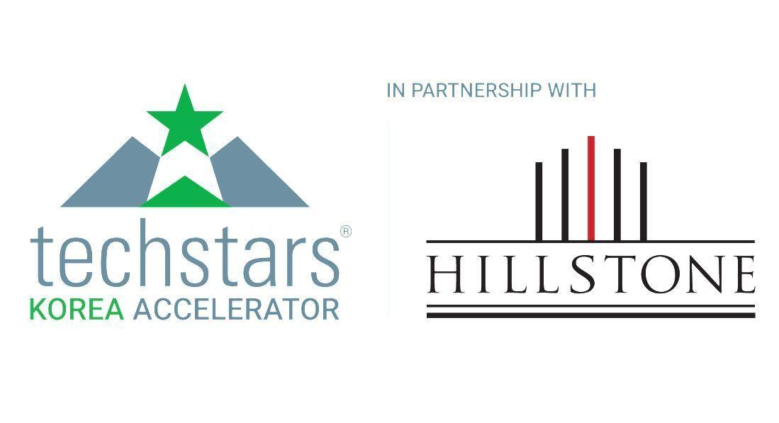 Logos of Techstars Korea (left) and Hillstone Partners