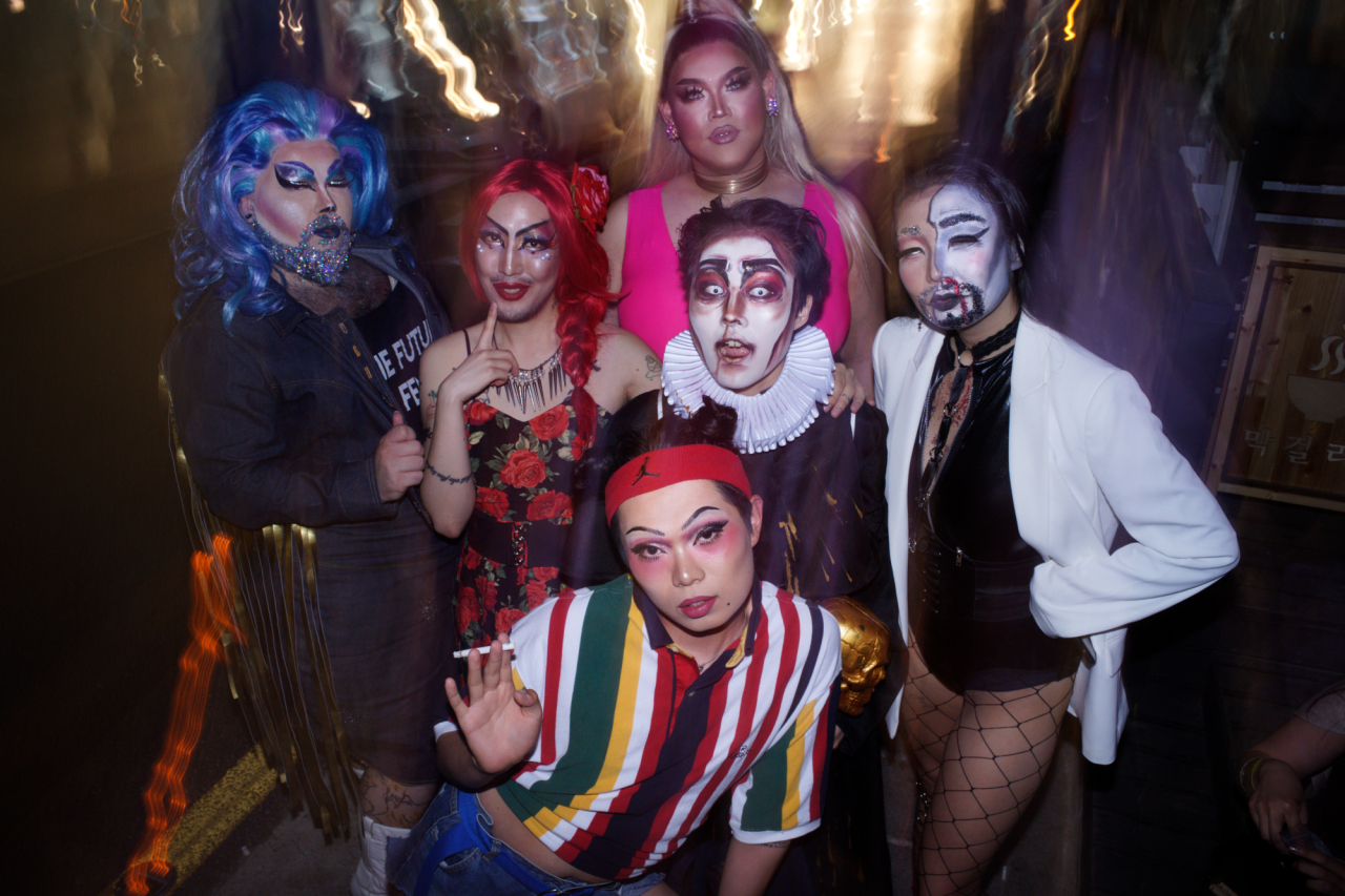 Local drag artists pose at Jasmin Rice in Seoul on May 24, 2019. (Argus Paul)