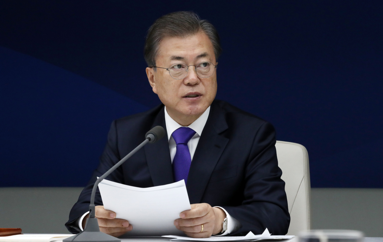 President Moon Jae-in speaks at the meeting with business leaders in Seoul on Thursday. Yonhap