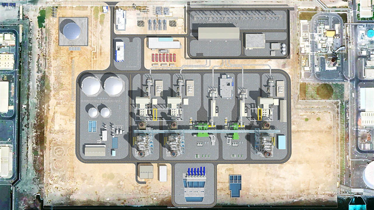 A computer rendering overlaid on a satellite view shows how the Fujairah combined cycle power plant will look when it is complete. (Samsung C&T)