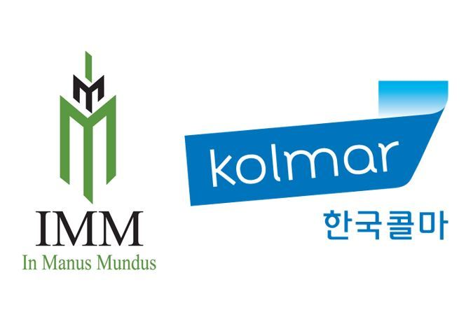 Logos of IMM Private Equity (left) and Kolmar Korea