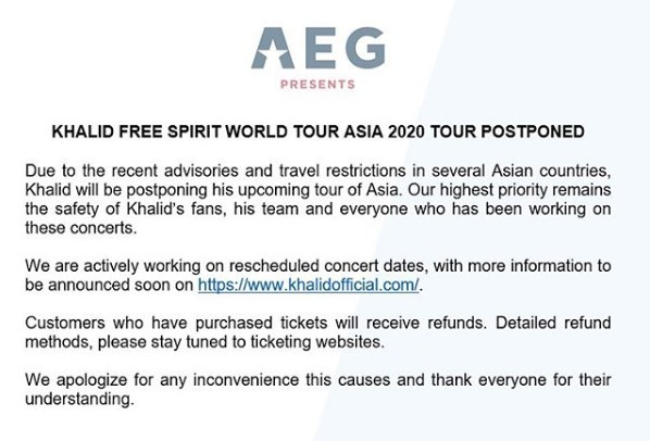 Screenshot of concert organizer AEG Presents' announcement about Khalid's Asia concerts (AEG Present Asia Instagram)