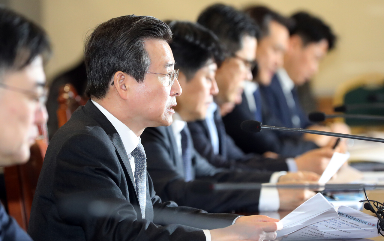 Kim Yong-beom, first vice minister of economy and finance, on Monday speaks in a senior-level policy meeting to discuss economic countermeasures to COVID-19. (Yonhap)