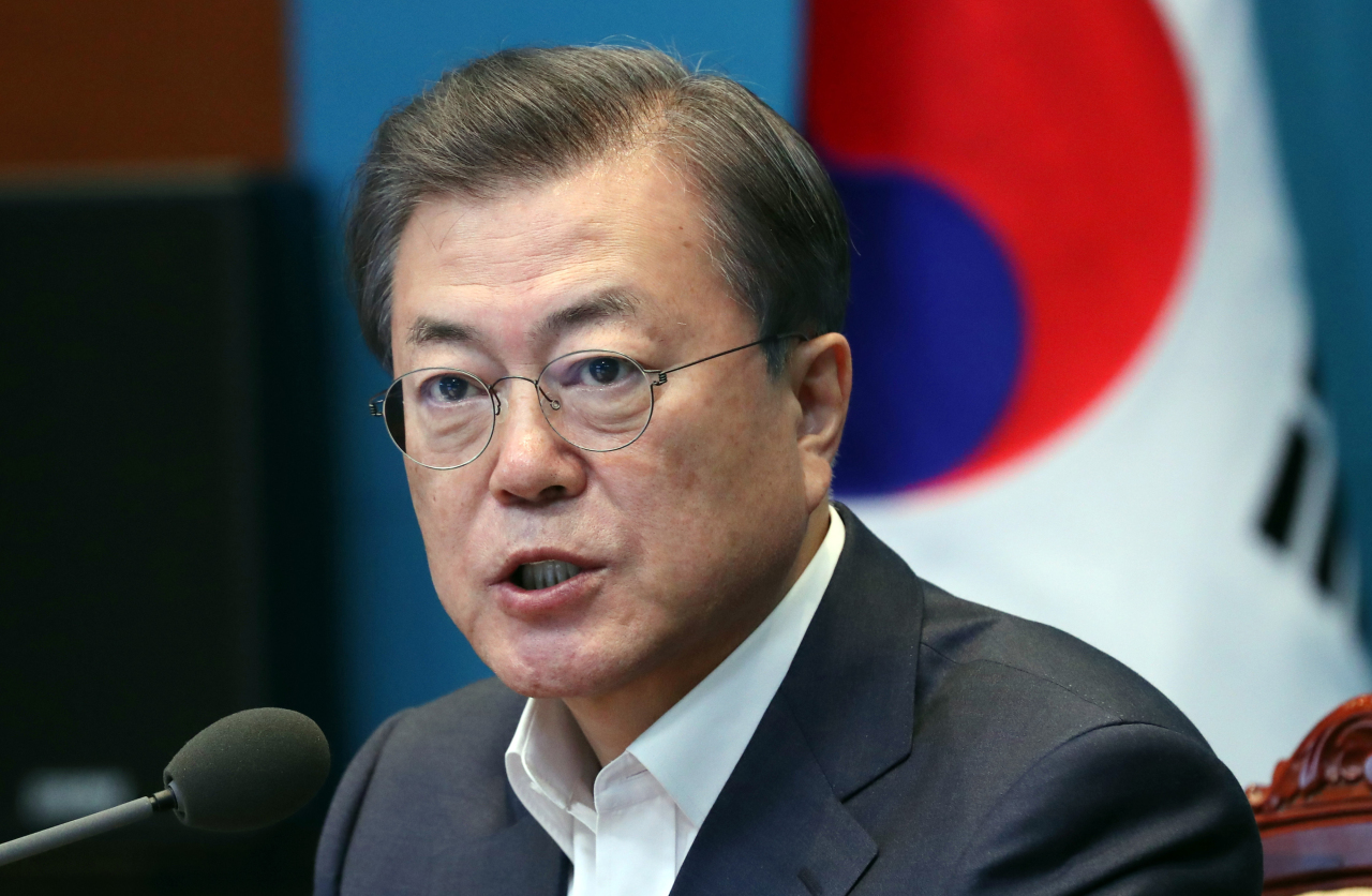 President Moon Jae-in speaks at a meeting with senior aides on Monday. Yonhap