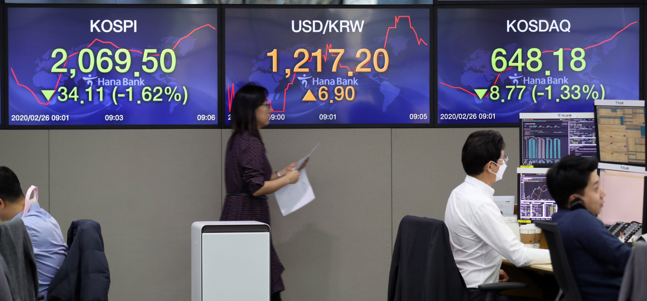 An electronic signboard at Hana Bank's dealing room in Seoul on Wednesday morning shows the nation's benchmark Kospi and secondary tech-heavy Kosdaq indexes. (Yonhap)