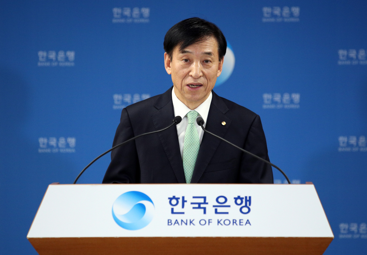 Bank of Korea Gov. Lee Ju-yeol speaks in a YouTube-streamed press conference on Thursday, after the Monetary Policy Board's decision to freeze the key rate at 1.25 percent and to lower the growth outlook to 2.1 percent for this year. (BOK)