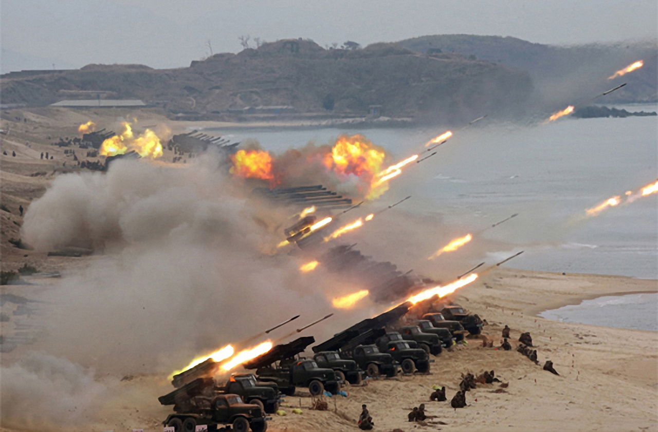 North Korea's military conducts a strike drill in the eastern area. (Yonhap)