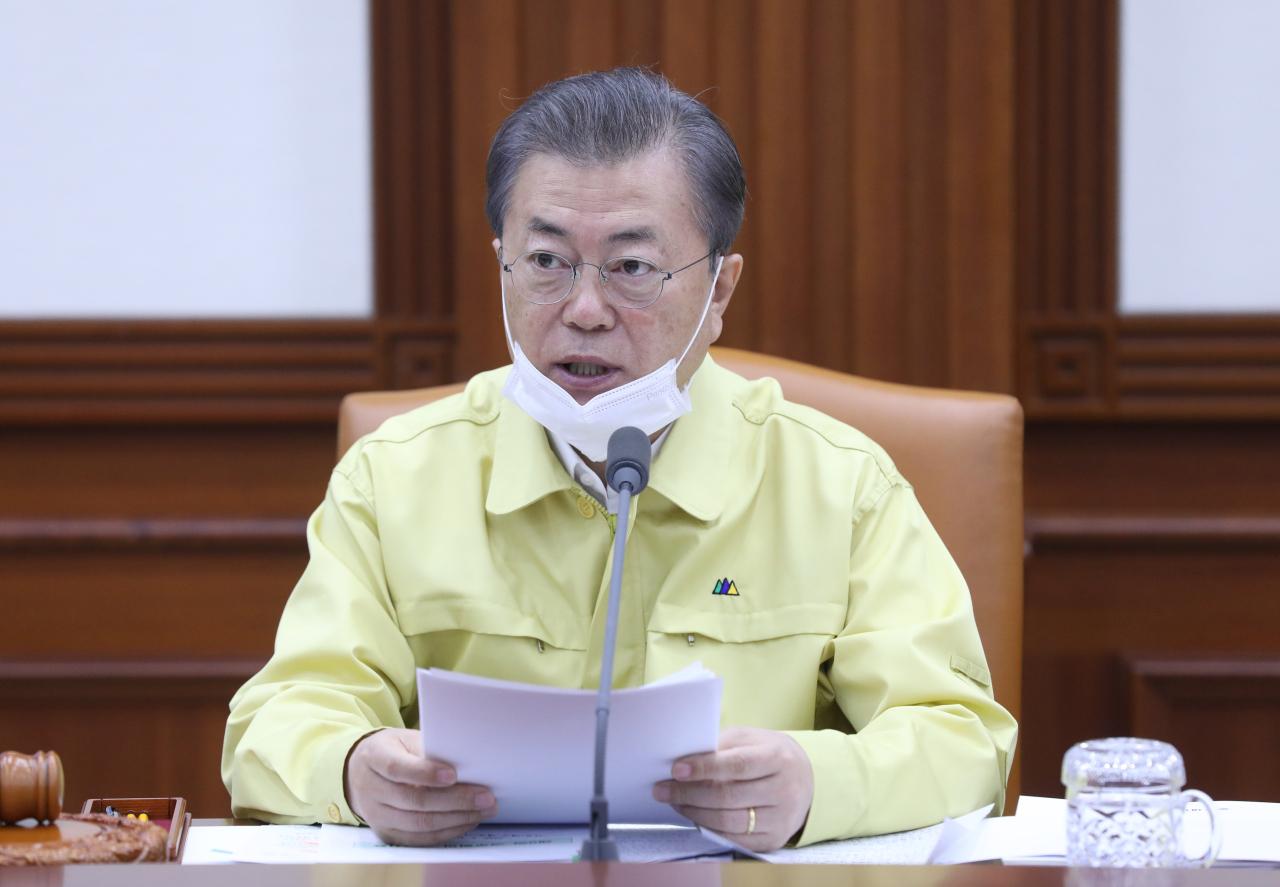 President Moon Jae-in speaks at Tuesday`s Cabinet meeting. Yonhap