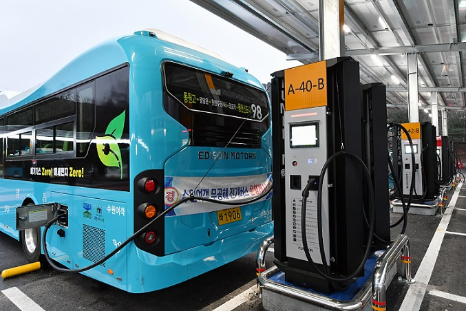 Suwon has 96 charging stations for electric buses. (Suwon City)