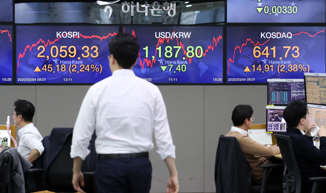 An electronic signboard at Hana Bank's dealing room in Seoul on Wednesday shows the closing prices of the nation's benchmark Kospi and secondary tech-heavy Kosdaq indexes. (Yonhap)