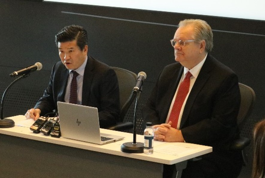AmCham Chairman & CEO James Kim (left) and Chairman of AmCham Board of Governors Jeffrey Jones speak at a press conference on the current status of coronavirus outbreak on Thursday in Seoul. (AmCham)