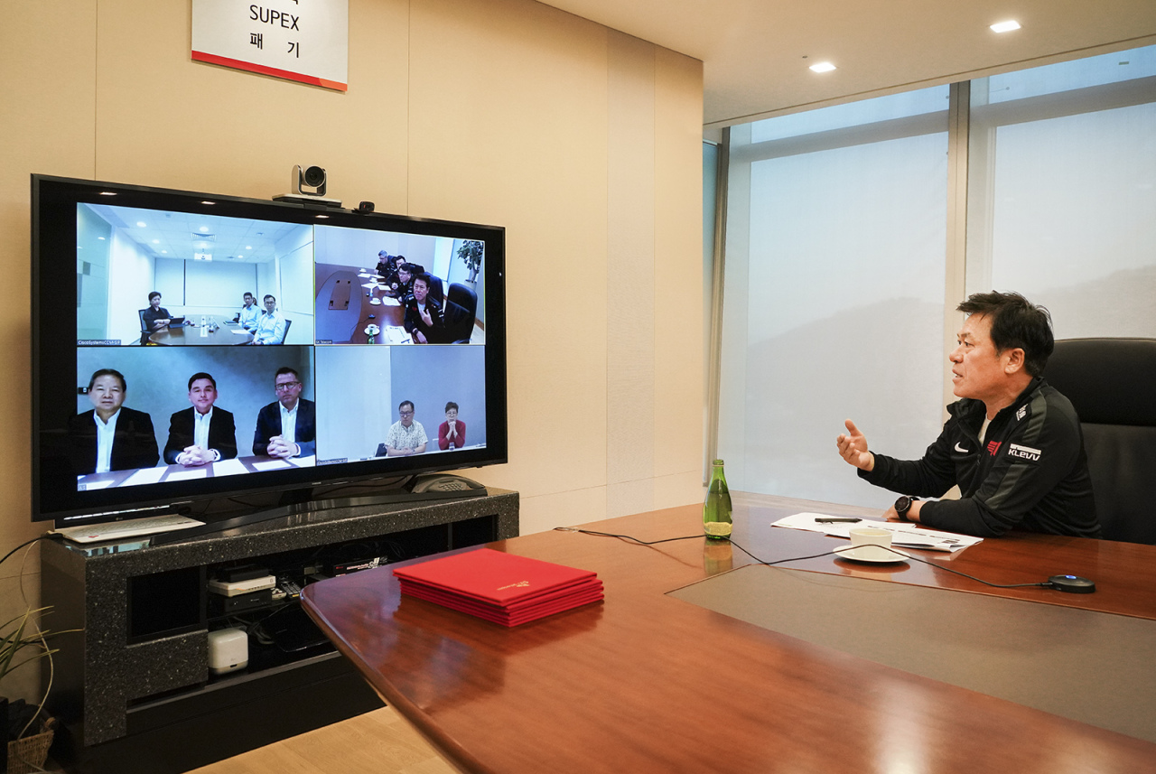 SKT, Singtel and AIS CEOs carry out a telecommuting conference amid COVID-19 situation. (SKT)
